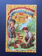 Hurrah July 4th Near Mint Patriotic Vintage PC Children ,Fireworks, Flag ,Gold