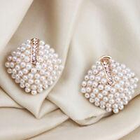 1 Paar Ohrstecker Ohrringe Doppelperlen Doppel Perle Perlen X5P5