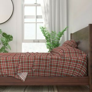 Red And Green Plaid Tartan Christmas 100% Cotton Sateen Sheet Set by Roostery