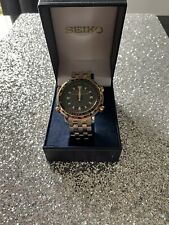 Seiko World Timer Chrono Mens Gold And Steel Effect Watch H023-00G0