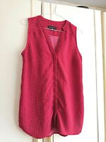 DANNII MINOGUE WOMENS RED BLACK CHECK SLEEVELESS TOP BLOUSE SIZE 10 PETITE VNECK