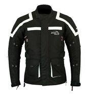 Black Motorcycle Waterproof Cordura Textile Jacket Vented Motorbike CE Armour