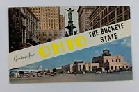 Postcard Greetings from Ohio Buckeye State Fountain Square Hopkins Airport
