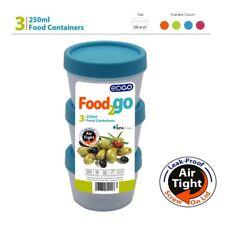 3 x 250 ML BPA FREE CIBO CONTENITORE ERMETICO A TENUTA COPERCHIO A VITE pranzo Box Di Stoccaggio