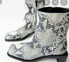 Zara Snakeskin Square Toe Grey Boots Uk 4 New animal print EU 37 Real Leather