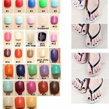 24pcs Solid Color Artificial Fake Nails Full Cover Feet Big toe Pedicure Art