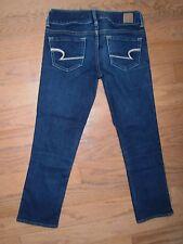 Womens American Eagle Artist Crop Capri Jeans 2 Low rise Stretch Blue
