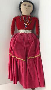 Vintage Hand-Made Navajo Woman Doll Beaded Cloth