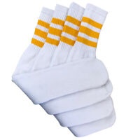 "4 Pairs White Tube Socks with Yellow Gold Stripe Cotton 24"" Inches Long"