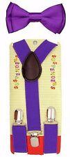 Solid Purple Kids Boys Girls Y-Back Adjustable Bow Tie & Purple Kid suspenders-2
