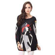 Women Fashion Black Cashmere Cartoon Pattern Long Sleeve Loose Plus Size Dress