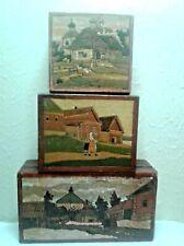 Lot of 3 Vintage Russian Folk Art Boxes (Russia/Ussr)