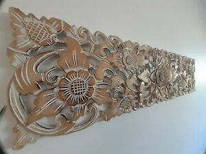 NATURAL WASH SUNFLOWER WOOD CARVED WALL ART PLAQUE HOME DECOR