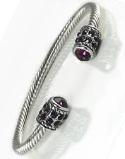 Purple Amethyst Rhinestone Crystal Cuff Bracelet Silver Bangle Wire