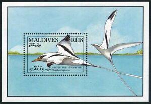Maldives 1429,MNH.Michel 1442 Bl.170. Birds 1990.White-tailed tropic bird