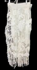 Ralph Lauren Skirt White Hand Knit Fringe Wrap Shell  Charms Size Medium