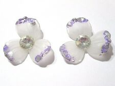 PIERCED EARRINGS FROSTED LUCITE PLASTIC FLORAL PURPLE AND FAUX CRYSTAL ACCENT