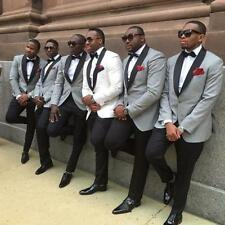 Men's Wedding Suits Groom Tuxedos Slim Light Grey Groomsmen Black Lapel Custom
