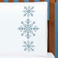 Herrschners® Serene Snowflake Pillowcase Pair Stamped Cross-Stitch