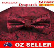 MENS BOW TIE AND POCKET SQUARE Hanky Handkerchief Wedding Party Wine Red