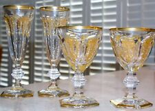 $2260 SET/4 BACCARAT CRYSTAL Harcourt Empire GOLD Champagne Flutes/Goblets FLAW