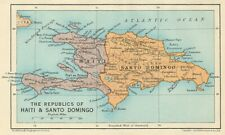 HISPANIOLA. Haiti & Santo Domingo (Dominican Republic) Vintage map 1931