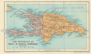 HISPANIOLA. Haiti & Santo Domingo (Dominican Republic) Vintage map 1931