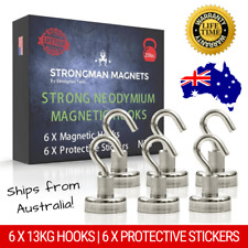 Strongman Tools Pack of 6 x 11kg Super Strong Magnetic Hooks for Kitchen Utensils, Steel Doors, Hanging up Decorations - Silver
