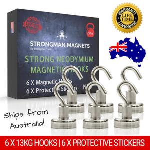 6 x 13kg 30lb Neodymium Magnetic Hooks | Ultra Strong Rare Earth Magnet Hooks AU