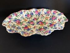 "CHINTZ VINTAGE JAMES KENT ROSALYNDE 9"" OVAL FLUTED RUFFLED BOWL ~RARE~"