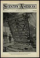 Sawing machine wooden paving blocks roads 1908 Scientific American cover print