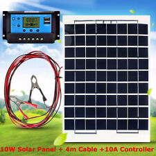 10w Energy Solar Panel + 10A 12v 24v Battery Charger Controller + 4m cable Clips