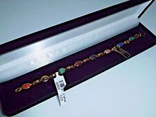 Genuine Hand Cut 8 Scarab Semi-Precious Stones 14K Gold-Filled Bracelet ~ Qvc