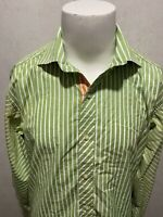 ROBERT GRAHAM Green White Striped Flip Cuff Mens L/S Button Down Shirt Large L