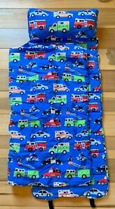 Wildkin Nap Mat with Pillow and Blanket Heroes Fire Police Emergency Vehicles
