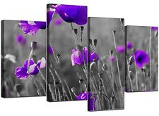 Large Purple Floral Black White Canvas Flowers Pictures Wall Art 4136