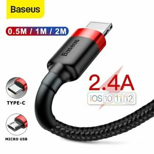 Baseus Type C Micro USB Fast Charger Cable Universal Data Cord Lead 0.5m 1m 2m