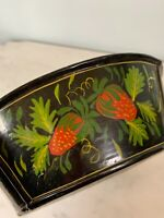 "Vintage Antique early Toleware hand painted bowl black strawberry 8.25"" diameter"