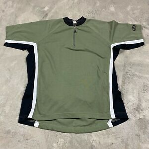 VTG CANARI CYCLING Jersey M Made in USA 1/4 Zip Olive Green Bike Men's Casual