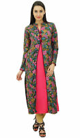 Bimba Women's Designer Straight Kurti Blouse Floral Print Winter Tunic Indian