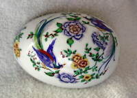 LIMOGES France Porcelain EGG Trinket Box Flowers Blue Birds NEW