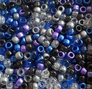 100 Dark Shadows Pony Beads Hair Braiding Dummy Clip Jewellery Crafts