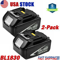 2Pack For Makita BL1830-2 18V 3.0Ah Lithium Ion LXT Battery BL1850 BL1840 BL1860