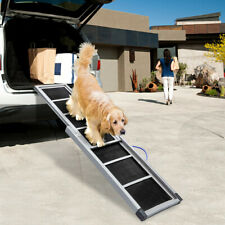 "64"" Folding Dog Ramps for Car Truck SUV Backseat Stair Steps Pet Ladder"