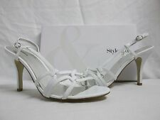 Style & Co Size 10 M Hunter White Open Toe Heels New Womens Shoes
