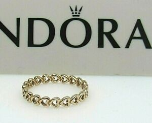 New Pandora 54 (7)  Linked Love Hearts 14Kt Gold 585  Ring w Hinge Box 150177