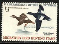 SCOTT RW36 1969 $3 DUCK STAMP ISSUE MNH OG VF CAT $65!