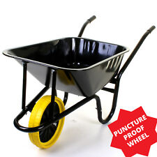 85L/150KG HEAVY DUTY BLACK WHEELBARROW LARGE WITH SOLID PUNCTURE PROOF WHEEL NEW