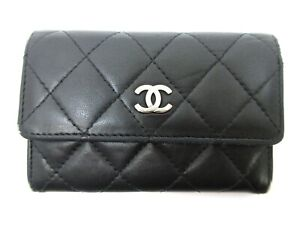 Authentic CHANEL Matelasse Coin Purse Card Case Lamb Skin Leather Black 94927