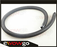 -6AN AN6 Nylon Cover Braided 1500 PSI Fuel Oil Gas Line Hose Foot Black